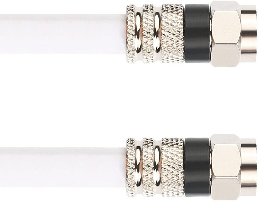 Белый кабель RG6 с разъемами F-папа